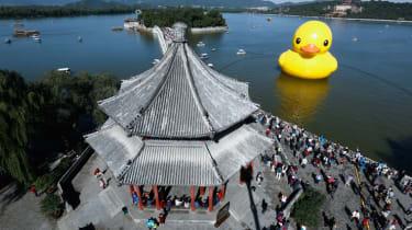 Giant rubber duck in Beijing