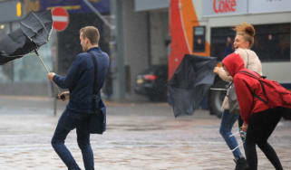 Stormy weather hits Blackpool as Hurricane Gonzalo reaches the UK
