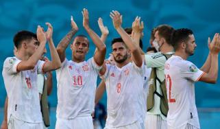Spain celebrate their 5-0 win over Slovakia in Euro 2020 group E