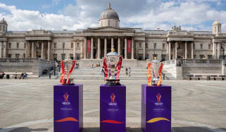 The Rugby League World Cup trophies on display in London