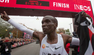 Kenya's Eliud Kipchoge celebrates his 1:59 marathon in Vienna, Austria on 12 October