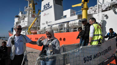 The MV Aquarius offloading rescued migrants in Italy on 10 May