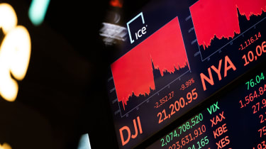 NEW YORK, NY - MARCH 12: A board on the floor of the New York Stock Exchange (NYSE) on the floor of the New York Stock Exchange (NYSE)on March 12, 2020 in New York City. The Dow Jones Industr