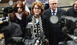 LONDON, ENGLAND - MARCH 07:Vicky Pryce, (c) ex-wife of Chris Huhne, leaves Southwark Crown Court after being found guilty of perverting the course of justice, on March 7, 2013 in London, Engl