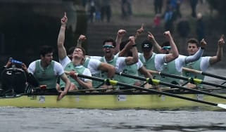 The Cambridge boat crew celebrate their 2018 victory over Oxford