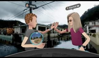 """Zuckerberg high-fives Facebook colleague Rachel Franklin in their virtual reality """"visit"""" to Puerto Rico"""