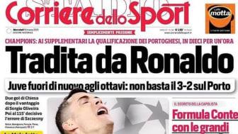 Corriere dello Sport headline 'Betrayed by Ronaldo'