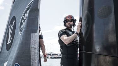 Ben Ainslie on board the Land Rover BAR America's Cup yacht