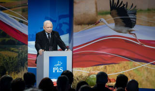 Jaroslaw Kaczynski, leader of Poland's ruling Law and Justice (PiS) party, speaks during the party's campaign convention in Kielce, October 9, 2019. - Poland's governing right-wing PiS party