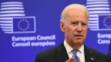 Joe Biden addresses the European Council while serving as vice-president under Barack Obama.