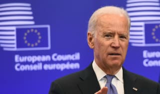 Joe Biden addresses the European Council while serving as vice-president under Barack Obama.