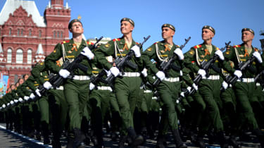 Russian soldiers march at the Red Square during a Victory Day parade