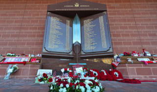 Hillsborough disaster memorial at Liverpool Football Club's Anfield stadium