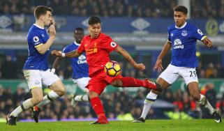 Liverpool's Roberto Firmino against Everton