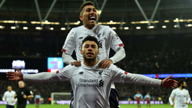 Alex Oxlade-Chamberlain celebrates his goal for Liverpool against West Ham