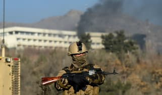 An Afghan special forces guards the Intercontinental hotel