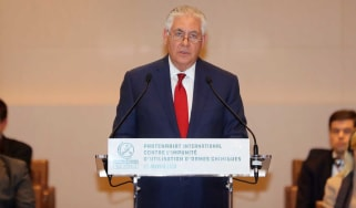 Rex Tillerson speaking at an anti-chemical weapons summit in Paris