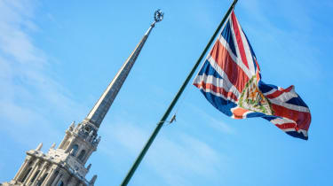 The union jack flying over the British embassy in Moscow