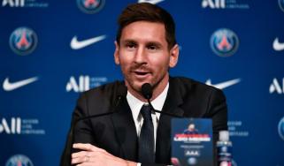 Lionel Messi speaks to the press in Paris