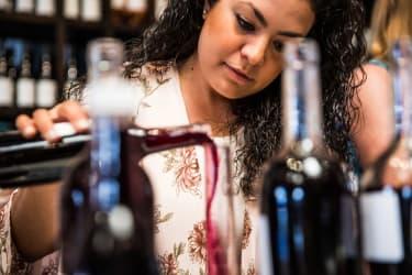 A wine blending lesson at Margerum Wine Company in Santa Barbara, California, October 22, 2017.