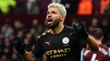Man City striker Sergio Aguero celebrates after scoring against Aston Villa
