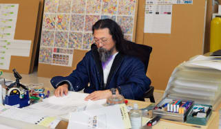 Takashi Murakami in his studio, courtesy of the artist