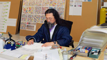 Takashi Murakami in his studio, courtesy of the artist