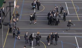 School children in a playground