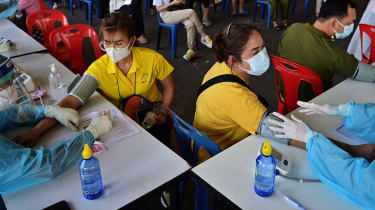 Medical staff administer Covid vaccines in Bangkok, Thailand