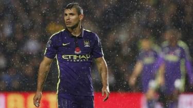 Sergio Aguero in rain