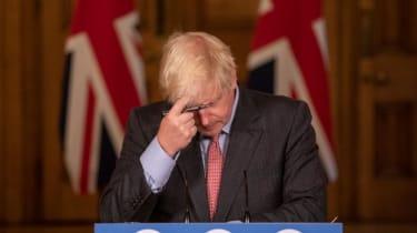 Boris Johnson at a coronavirus press briefing.
