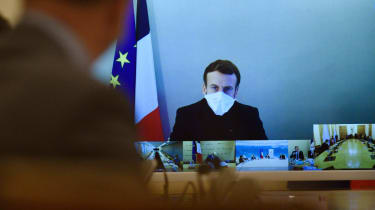 Emmanuel Macron attends a weekly cabinet meeting.