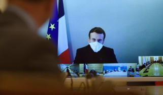Emmanuel Macron attends a weekly cabinet meeting.