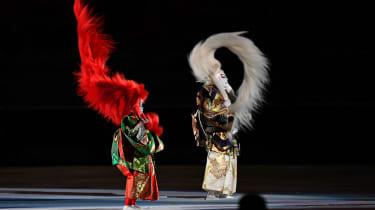 Participants perform the kabuki lion dance