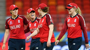 England players celebrate their win over the West Indies at the ICC Women's T20 World Cup