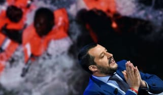 Italy's interior minister Matteo Salvini appearing on a television talk show