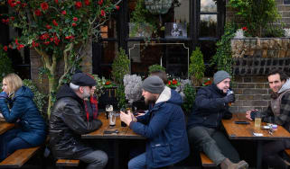 Drinkers outside a pub in Windsor