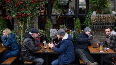 Drinkers outside a pub in Windsor