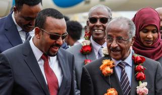 Ethiopian PM Abiy Ahmed talks to Eritrean Foreign Minister Osman Saleh Mohammed