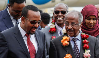 Ethiopian PM Abiy Ahmed talks to Eritrean Foreign Minister Osman Saleh Mohammed