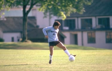 Diego Maradona takes part in an Argentina training session.