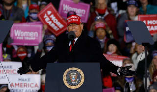 Donald Trump at his final rally before election day in the 2020 presidential election.