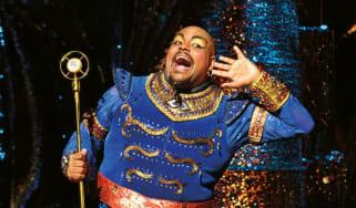 Trevor Dion Nicholas playing the Genie in Aladdin