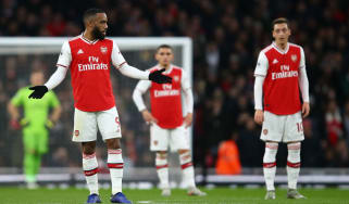 Arsenal striker Alexandre Lacazette reacts after Southampton's first goal at the Emirates