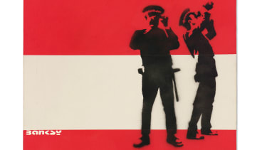Red & White Police by Banksy