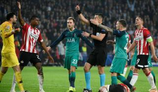 Tottenham goalkeeper Hugo Lloris was sent off in the 2-2 draw against PSV Eindhoven