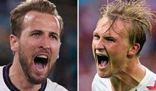 England's Harry Kane and Denmark's Kasper Dolberg have both scored three times at Euro 2020