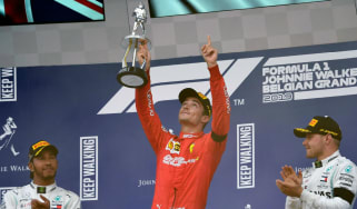 Ferrari's Charles Leclerc points to the sky in tribute to late French driver Anthoine Hubert