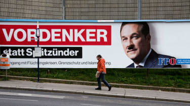 Freedom Party leader Heinz-Christian Strache with a graffiti Hitler moustache