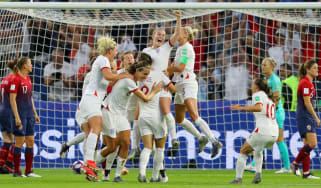 England players celebrate Lucy Bronze's superb goal against Norway